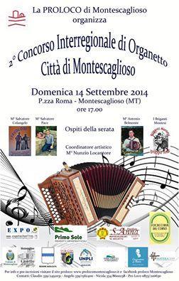 2° Concorso Nazionale di Organetto Città di Montescaglioso - 14 settembre 2014