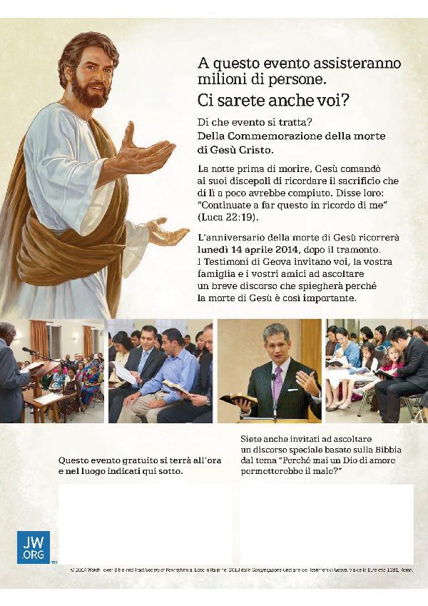 I TESTIMONI DI GEOVA DELLA POVINCIA MATERANA RICORDANO LA MORTE DI GESÙ - 14 aprile 2014