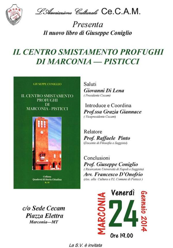 """Il centro smistamento profughi di Marconia-Pisticci"""" di G. Coniglio"""