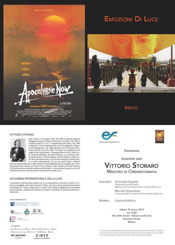 Incontro con Vittorio STORARO