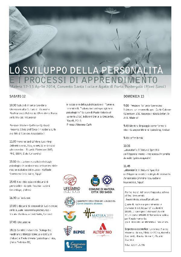 LO SVILUPPO DELLA PERSONALITÀ E I PROCESSI DI APPRENDIMENTO - 12 e 13 aprile 2014