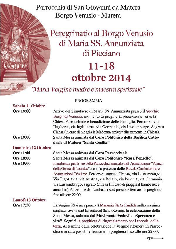 Peregrinatio di Maria SS. Annunziata di Picciano