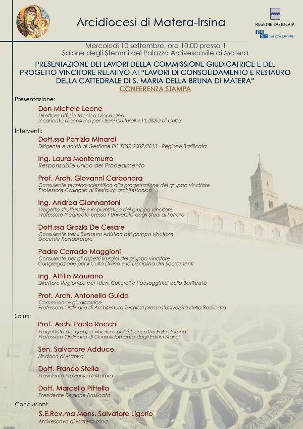 Presentazione dei lavori nella Cattedrale di Matera