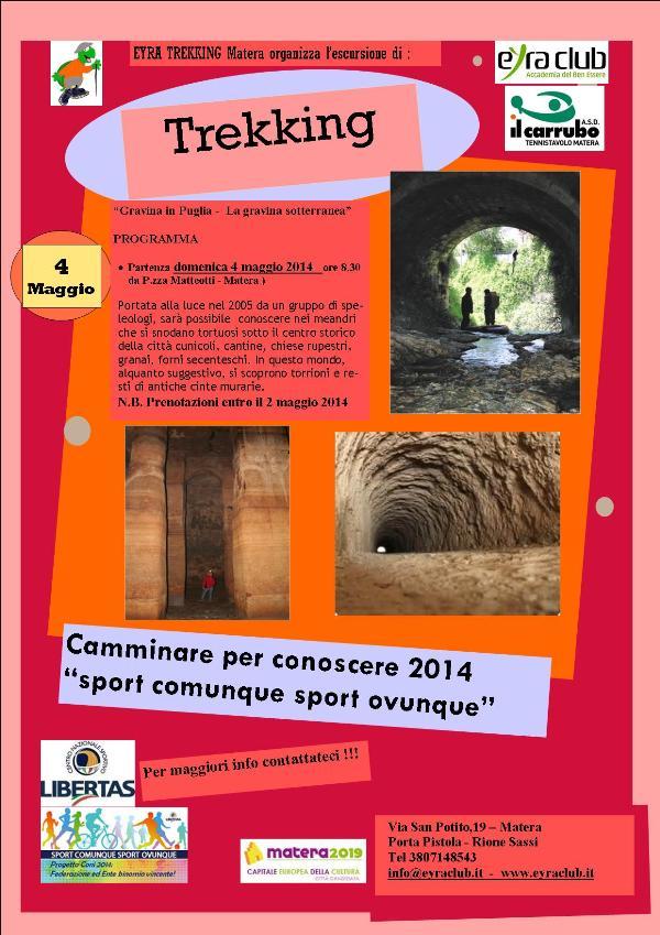 """Trekking del 4 maggio la """"Gravina sotterranea"""""""