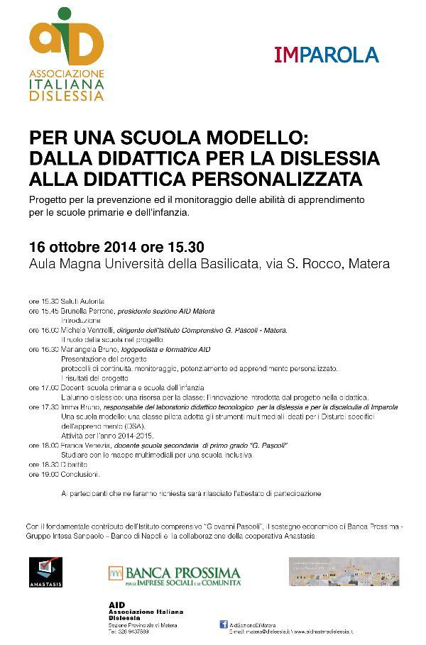 Una scuola modello: dalla didattica per la dislessia alla didattica personalizzata - 16 Ottobre 2014