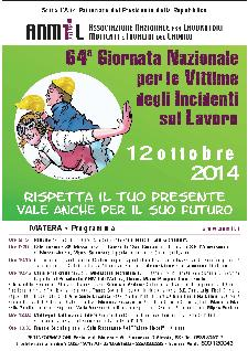64° Giornata Nazionale per le Vittime degli Incidenti sul Lavoro - 12 Ottobre 2014 - Matera