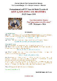 Festeggiamenti nell'875°Anno del Beato Transito di SAN GIOVANNI DA MATERA - Matera
