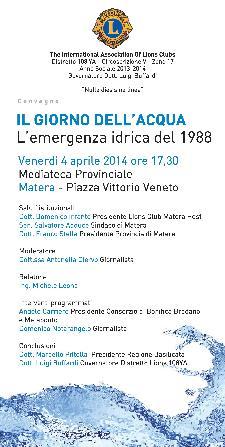 Il Giorno dell'acqua - 4 Aprile 2014 - Matera