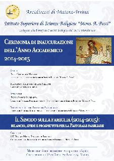Inaugurazione anno accademico 2014/15 Istituto Superiore di Scienze Religiose  - Matera
