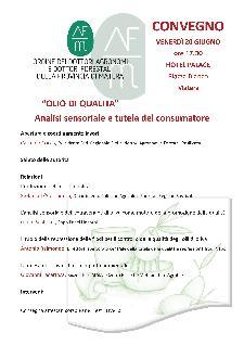 Olio di qualità: analisi sensoriale e tutela del consumatore - 20 Giugno 2014 - Matera