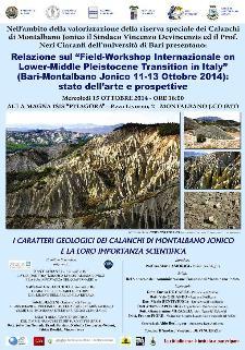 "RELAZIONE SUL ""FIELD-WORKSHOP INTERNAZIONALE ON LOWER-MIDDLE PLEISTOCENE TRANSITION IN ITALY  - Matera"