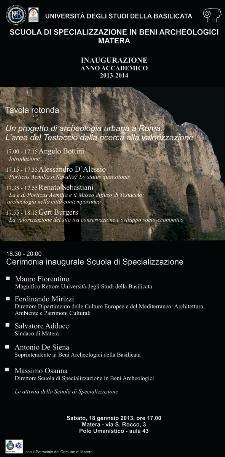 Scuola di Specializzazione in Beni Archeologici di Matera - 18 Gennaio 2014 - Matera
