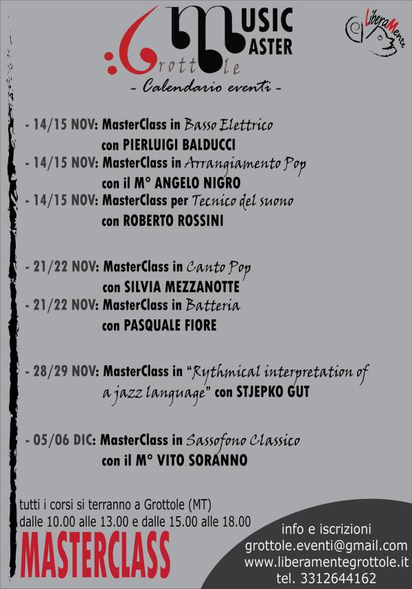 Caledario eventi - Music Master Grottole