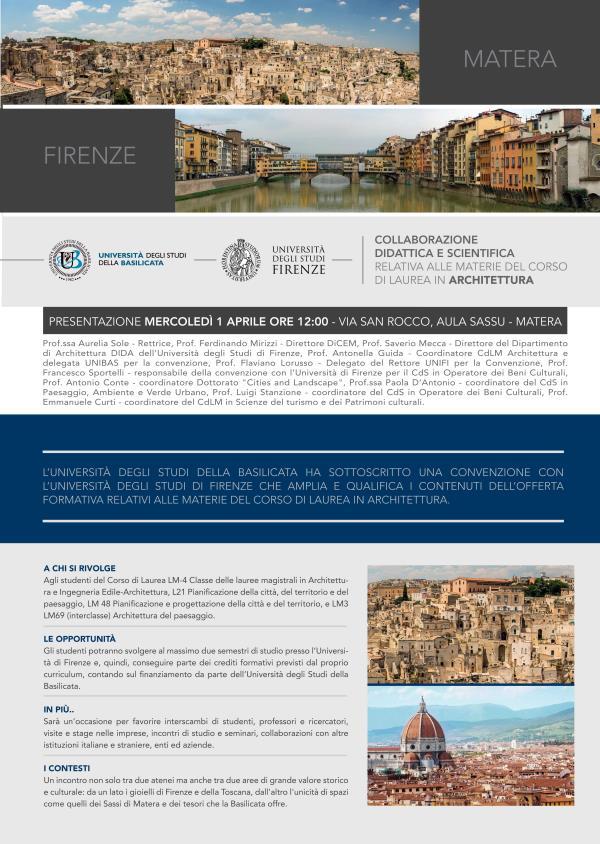 Convenzione tra l´Unibas e l´Università di Firenze - 1 Aprile 2015