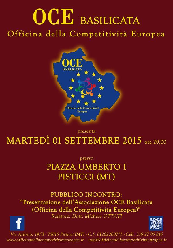 Presentazione dell´Associazione OCE Basilicata - 1 Settembre 2015