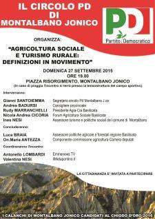 Agricoltura sociale e Turismo rurale: definizioni in movimento - 27 Settembre 2015 - Matera
