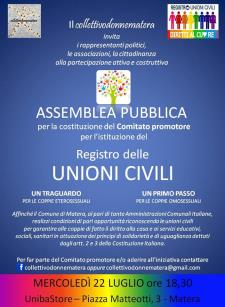 ASSEMBLEA PUBBLICA per la costituzione del Comitato Promotore per l'istituzione del Registro delle Unioni Civili  - Matera