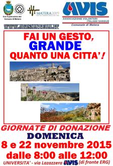 Avis: giornata di donazione di sangue  - Matera