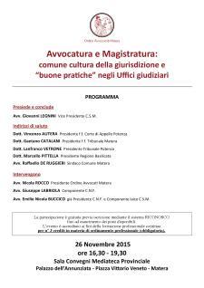 """Avvocatura e Magistratura: comune cultura della giurisdizione e """"buone pratiche"""" negli Uffici giudiziari - Matera"""
