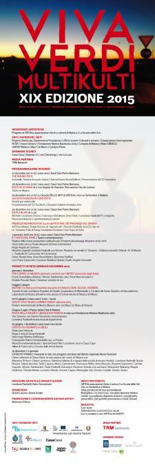 Calendario della XIX EDIZIONE 2015 di VivaVerdi Multikulti  - Matera