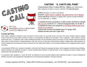 """CASTING spettacolo di teatro in musica """"Il Canto del pane""""  - Matera"""