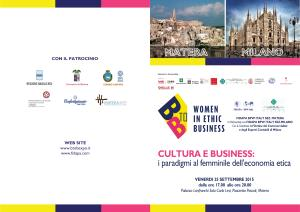 CULTURA E BUSINESS: i paradigmi al femminile dell'economia etica - 25 Settembre 2015 - Matera
