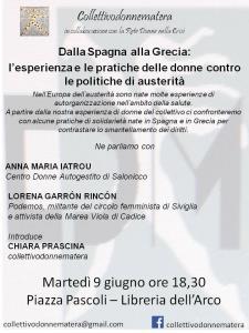 Dalla Spagna alla Grecia: l�esperienza e le pratiche delle donne contro le politiche di austerit�  - Matera