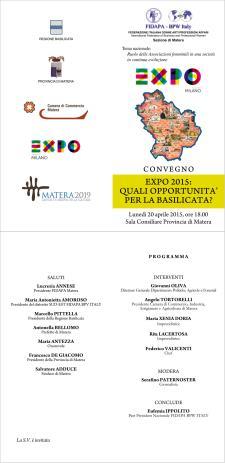 EXPO2015: quali opportunità per la Basilicata? - 20 Aprile 2015 - Matera