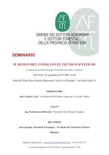 Il Ruolo del consulente tecnico d'ufficio - 22 Settembre 2015 - Matera