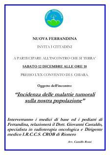 Incidenza delle malattie tumorali sulla nostra popolazione - Matera