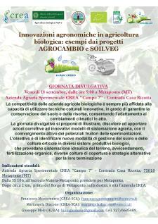 Innovazioni agronomiche in agricoltura biologica: esempi dai progetti AGROCAMBIO e SOILVEG - 18 Settembre 2015 - Matera