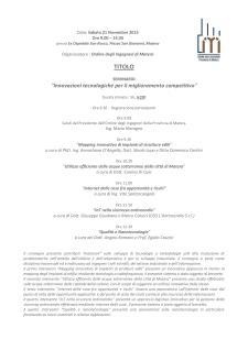 Innovazioni tecnologiche per il miglioramento competitivo - 21 Novembre 2015 - Matera