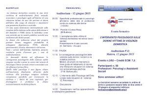 L'INTERVENTO PSICOLOGICO SULLE DONNE VITTIME DI VIOLENZA DOMESTICA - 12 Giugno 2015 - Matera