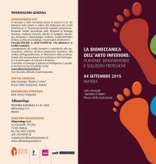 LA BIOMECCANICA DELL'ARTO INFERIORE: PLANTARE SENSOMOTORIO E SOLUZIONI PROTESICHE - 4 Settembre 2015 - Matera