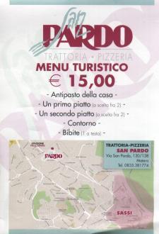 Menù turistico per Pasquetta 2015 alla pizzeria San Pardo - Matera