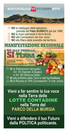 """No al Petrolio, Si alla Terra"" - 31 Ottobre 2015 - Matera"