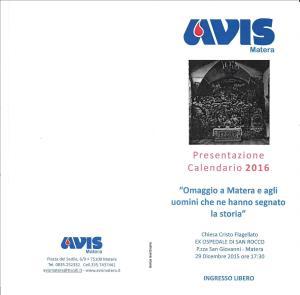 Presentazione del CALENDARIO AVIS 2016 - 29 Dicembre 2015 - Matera