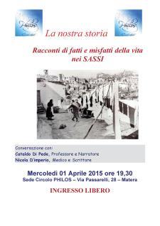 Racconti di fatti e misfatti della vita nei SASSI - 1 Aprile 2015 - Matera
