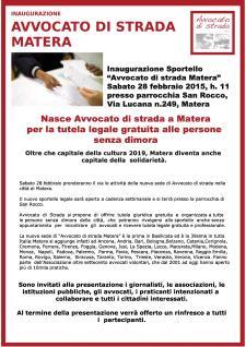 """Sportello """"Avvocato di strada Matera""""  - Matera"""