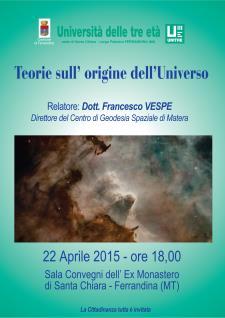 Teorie sull'origine dell'Universo - 22 Aprile 2015 - Matera