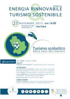 Turismo scolastico: Turismo Scolastico nelle Valli dell'Energia - 27 Novembre 2015 - Matera