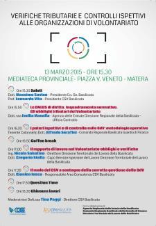 Verifiche tributare e Controlli ispettivi alle organizzazioni di volontariato - 13 Marzo 2015 - Matera