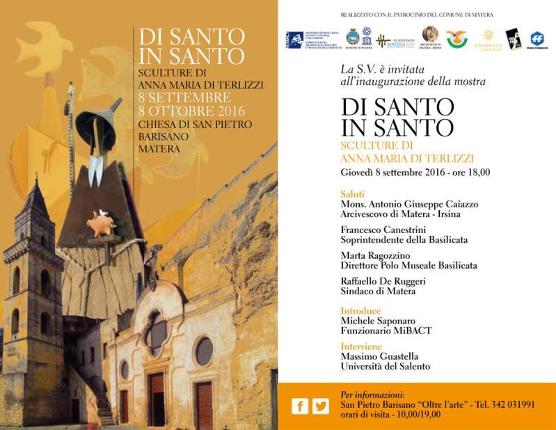 DI SANTO IN SANTO - Sculture di Anna Maria Di Terlizzi - dal 8 settembre al 8 ottobre 2016