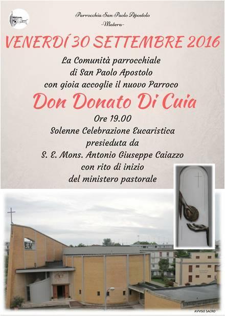 Inizio ministero parrocchiale di don Donato Di Cuia
