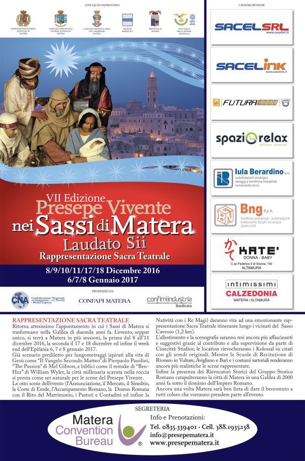 """PRESEPE VIVENTE 2016 NEI SASSI DI MATERA """"LAUDATO SII"""""""
