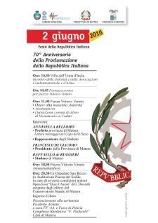 70° Anniversario della Proclamazione della Repubblica Italiana - Matera