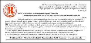 Assemblea di Costituzione e organizzazione del Coordinamento Regionale per l'Unità Rurale  - Matera