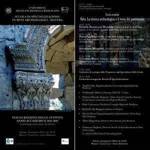 Cerimonia di inaugurazione dell' A.A. 2015 2016 della Scuola di Specializzazione in Beni Archeologici di Matera - Matera