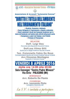 Diritto e tutela dell'Ambiente nell'ordinamento italiano - 8 Aprile 2016 - Matera