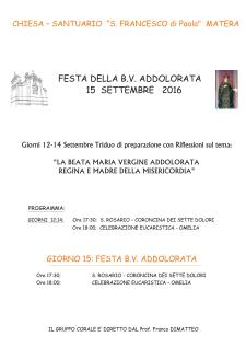 FESTA DELLA B.V. ADDOLORATA - 15 settembre 2016 - Matera